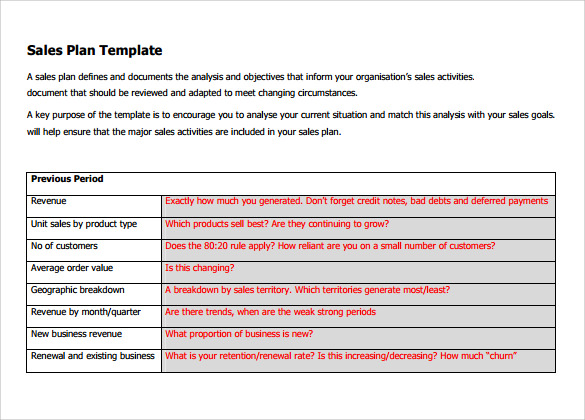 Organisation Sales Plan Templates