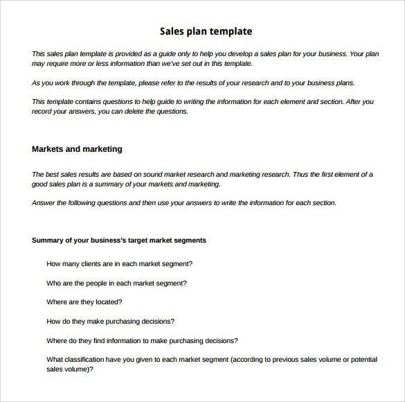 24 sample sales plan templates sample templates for Sales and marketing plans templates