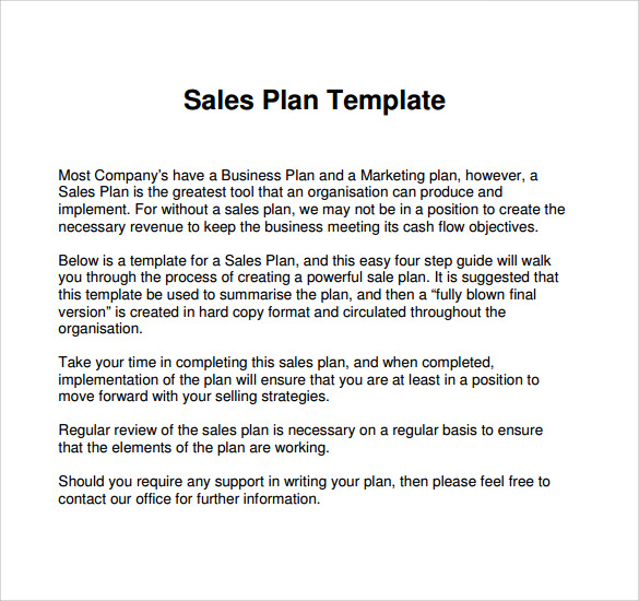 Simple Sales Plan Template  BesikEightyCo