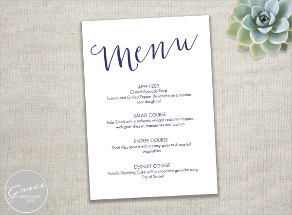 navy blue banquet menu