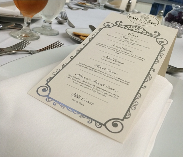 banquet menu card
