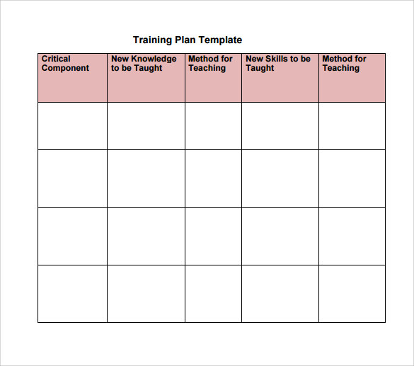 Training Plan Template Example