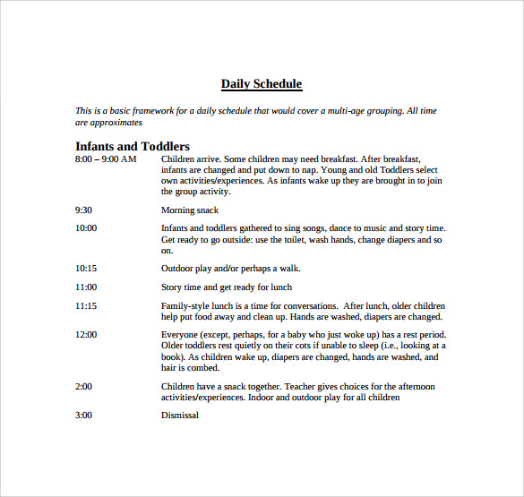 infants daily schedule template