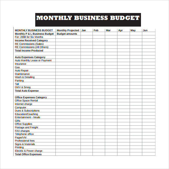 10 sample business budget templates sample templates monthly business budget template pdf flashek Image collections