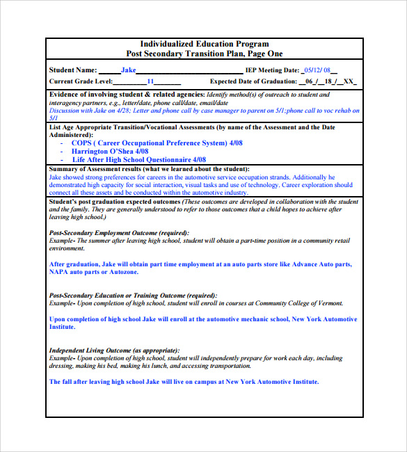 Individual Transition Plan Template  Individual Action Plan Template
