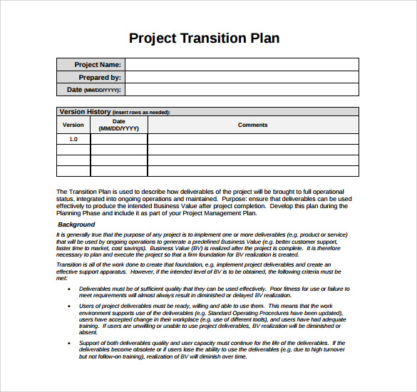 transition plan template 9 download documents in pdf