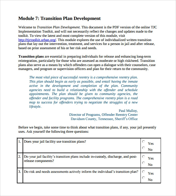 sample transition plan 8 documents in pdf