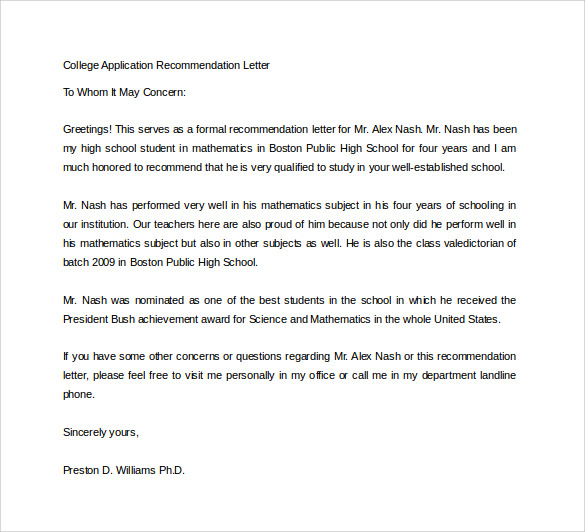 Sample College Recommendation Letter   Free Documents In Word Pdf