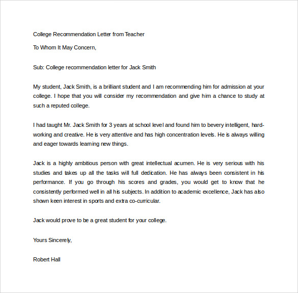 College-Recommendation-Letter-from-Teacher1 Teachers Letters Of Reference For College Application Form on