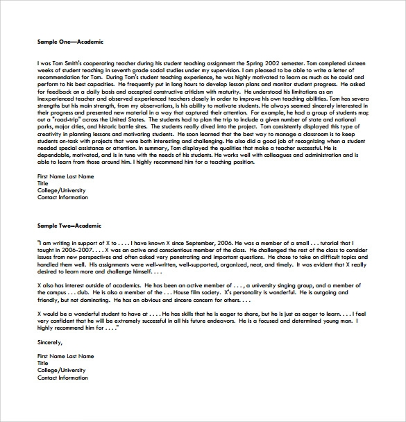 18 College Recommendation Letters PDF Word