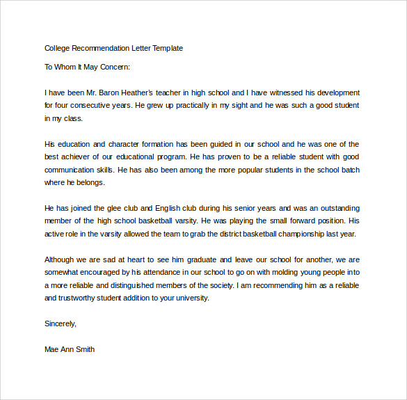 College Recommendation Letter Template in Word