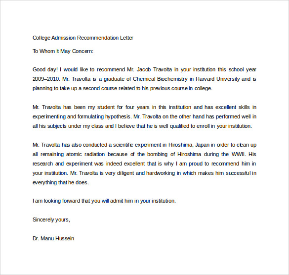 Sample College Recommendation Letter - 14+ Free Documents in Word, PDF