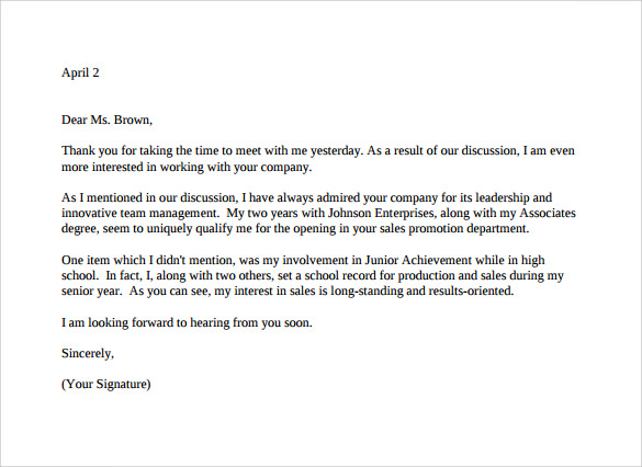 sample thank you letter for interview
