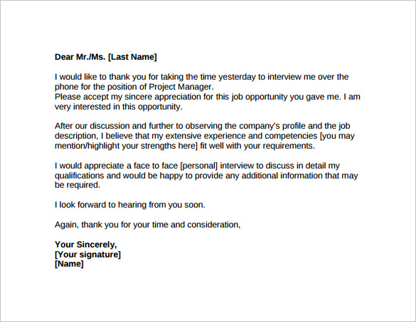 Thank You Letter After Job Interview 15 Download Free Documents – Thank You Letter for Interview