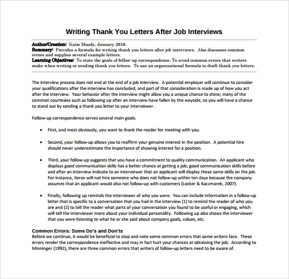 Thank You Letter After Job Interview - 15+ Download Free Documents