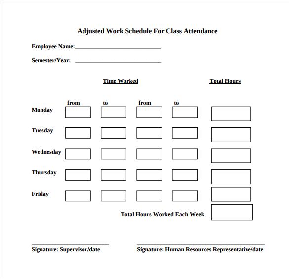 work schedule for class attendance
