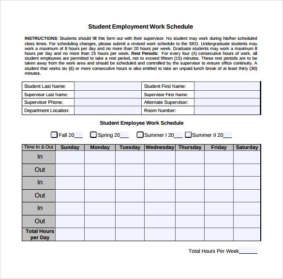 student employment work schedule