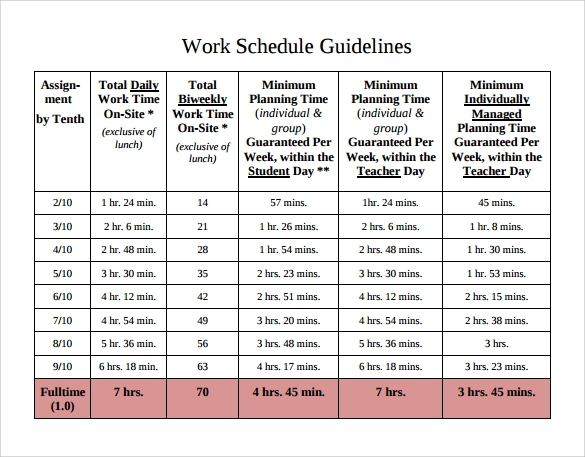 Work Schedule Template   Download Free Documents In Pdf Word Excel