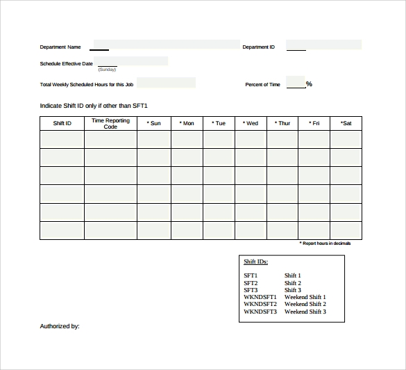 Work Schedule Template   Download Free Documents In Pdf Word