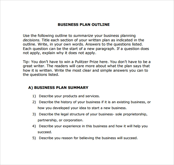 Business Plan Outline Template A Business Plan For Creative - Basic business plan outline template