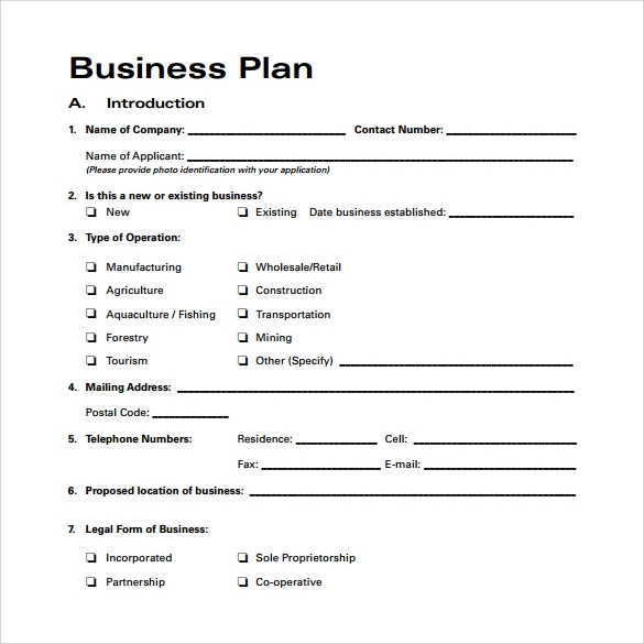 business plan formats