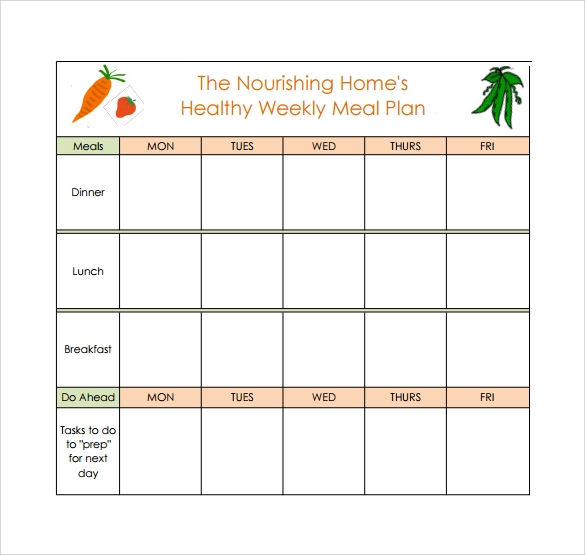 Healthy Meal Plan Calendar. 45 Printable Weekly Meal Planner Templates ...  Days Of The Week Calendar Template