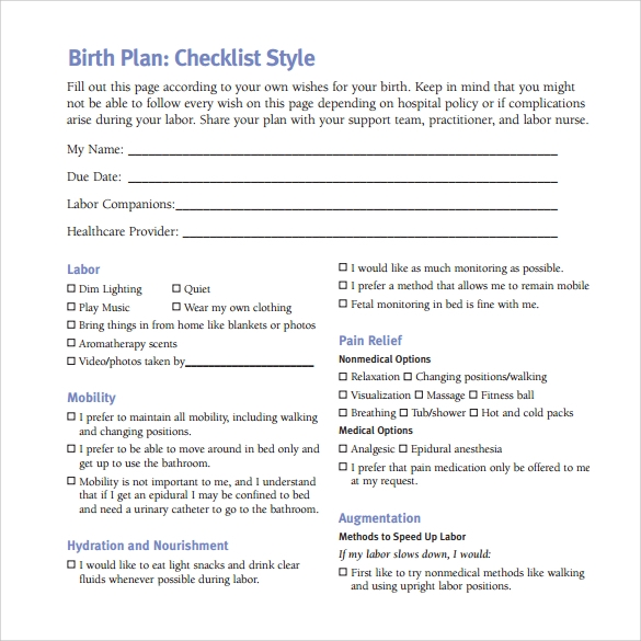 22+ Sample Birth Plan Templates – PDF, Word, Apple Pages ...