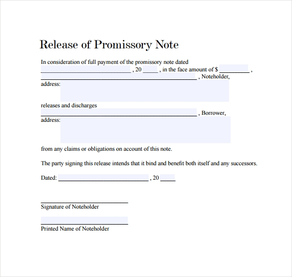 Release Of Promissory Note Template  Example Of Promissory Note