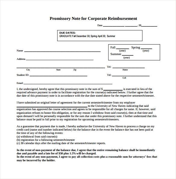 promissory note for corporate reimbursement