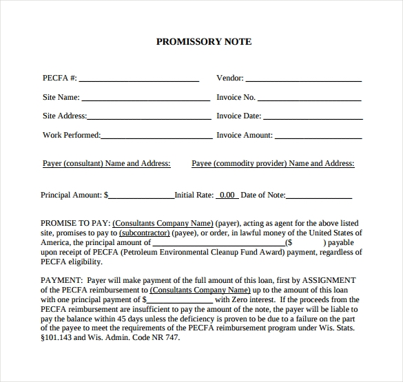 sample pdf promissory note template