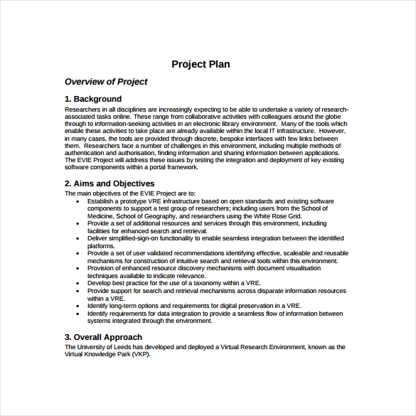 project plan template to print