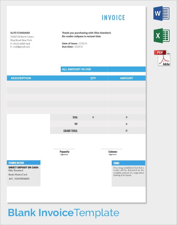 Blank Invoice Template 30 Documents in Word Excel PDF – Blank Invoice Document