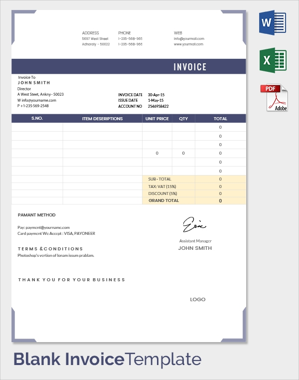 Blank Invoice Template 30 Documents in Word Excel PDF – Blank Invoice Doc