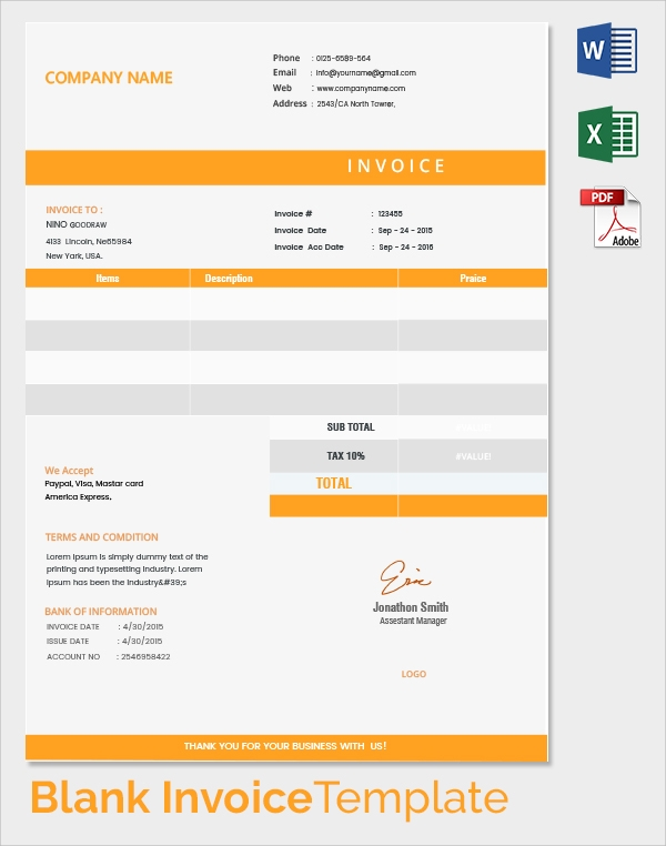 Blank Invoice Template 50 Documents In Word Excel Pdf