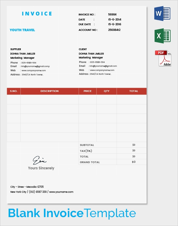 travel invoice format, Invoice examples