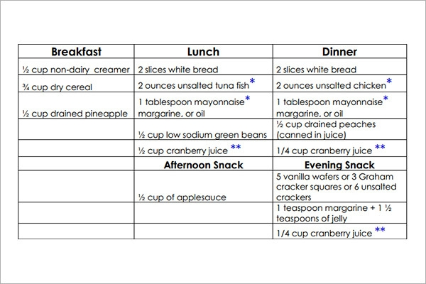 Sample Diet Menu Template   Free Documents In Pdf