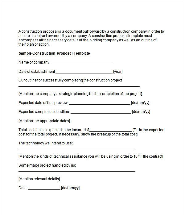 Construction Proposal Template Construction Business Proposal