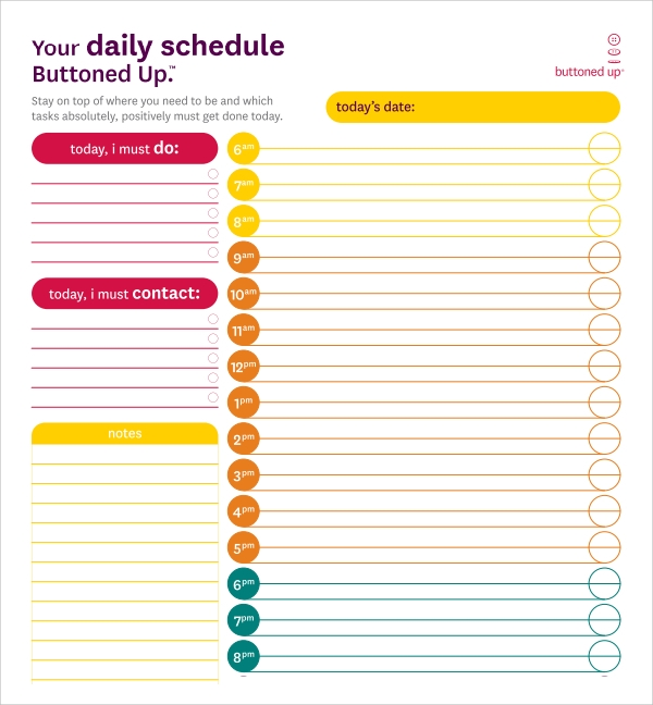 Sample Printable Daily Schedule Template   Free Documents In