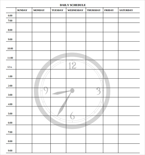 23 printable daily schedule templates pdf excel word sample templates. Black Bedroom Furniture Sets. Home Design Ideas