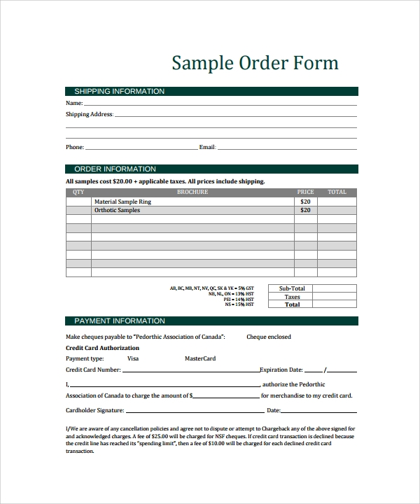 Order Form Template 23 Download Free Documents In PDF WordExcel – Order Form Template Free