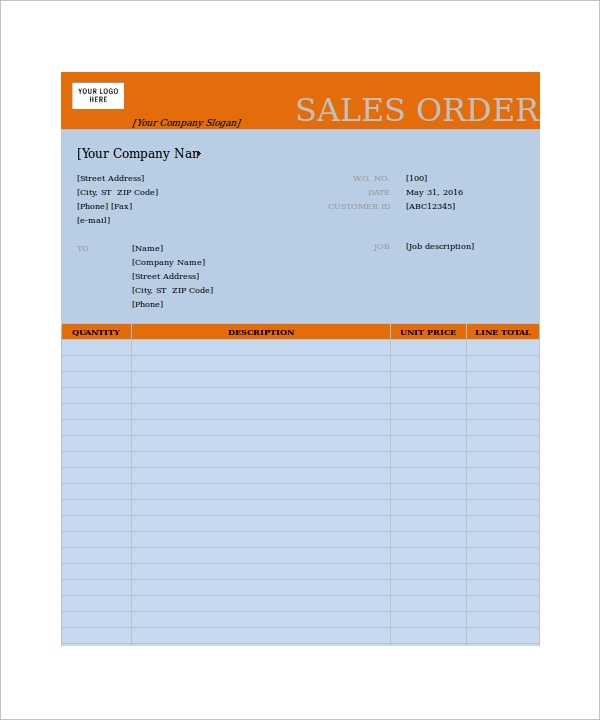 Order Form Template 23 Download Free Documents In PDF WordExcel – Sales Order Forms Templates Free