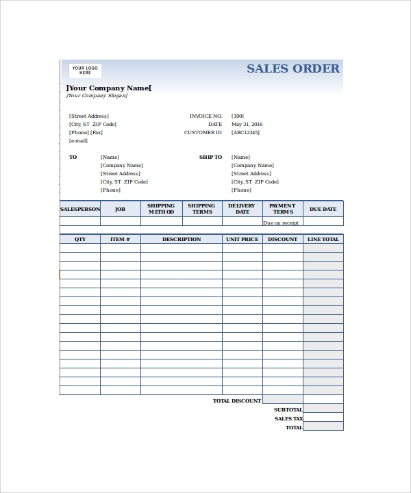 Sales Order Form Template Excel  Delivery Order Form Template