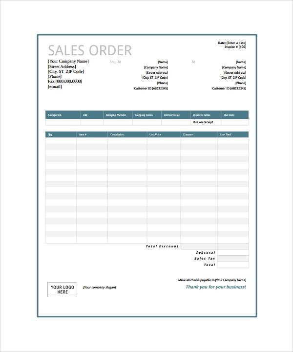 23 Order Form Templates Pdf Word Excel Sample Templates