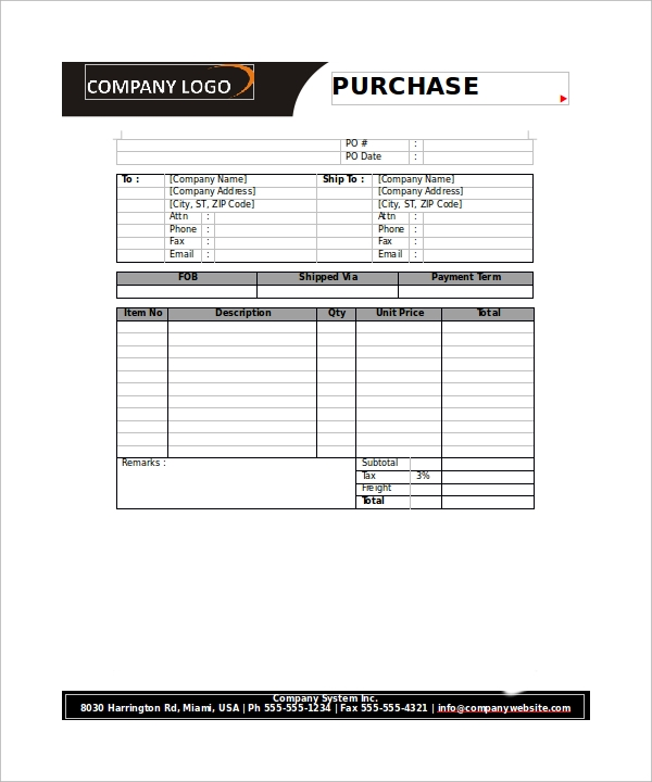 Sample Order Form Template  Po Form Template