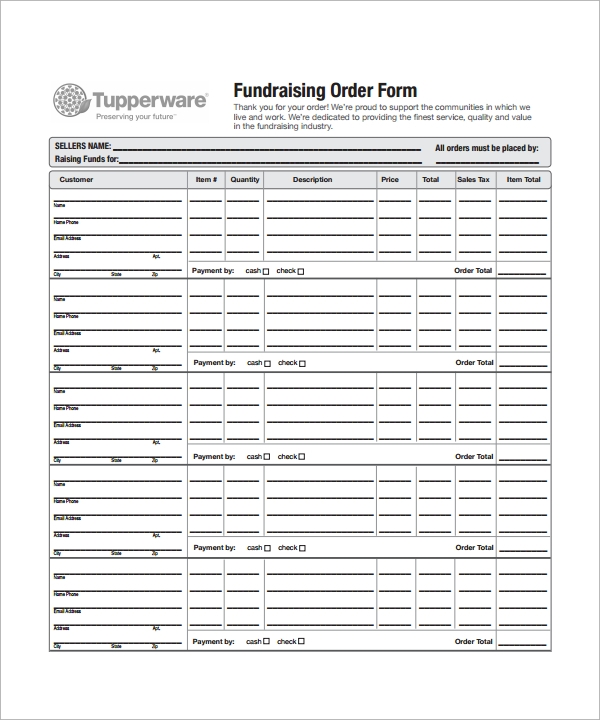 fundraising order form template excel