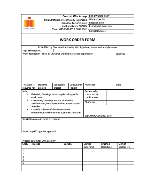 sample work order form template