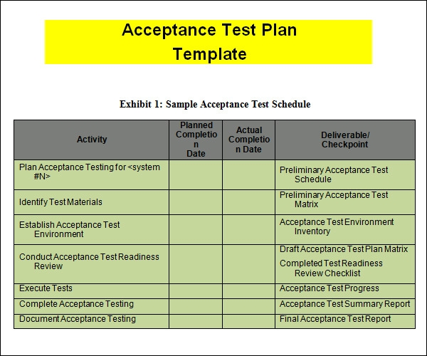 Test plan sample for Test automation strategy document template