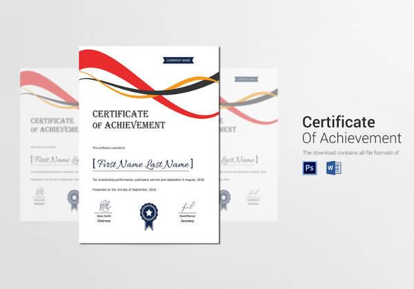 achievement corporate certificate template