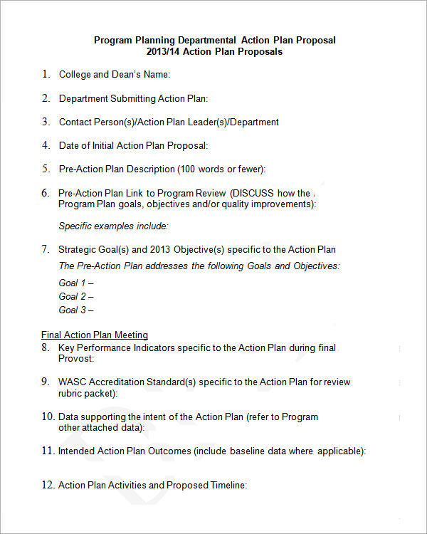action plan proposal