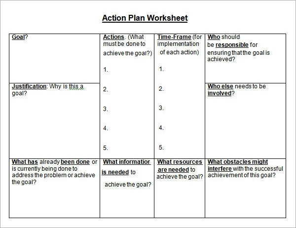 Sample Action Plan Template 9 Free Documents in PDF Word Excel – Action Plan Work Sheet